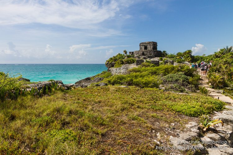 Tulum is a Mayan archeological site overlooking the beach and the turquoise blue of the Caribbean Sea. Quintana Roo, Mexico, July 2014.