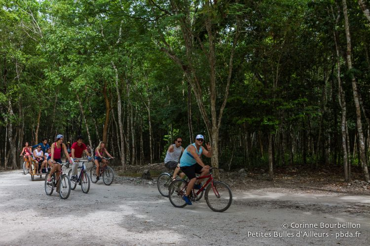 The huge site of Cobá can be visited by bike. Yucatán, Mexico, July 2014.