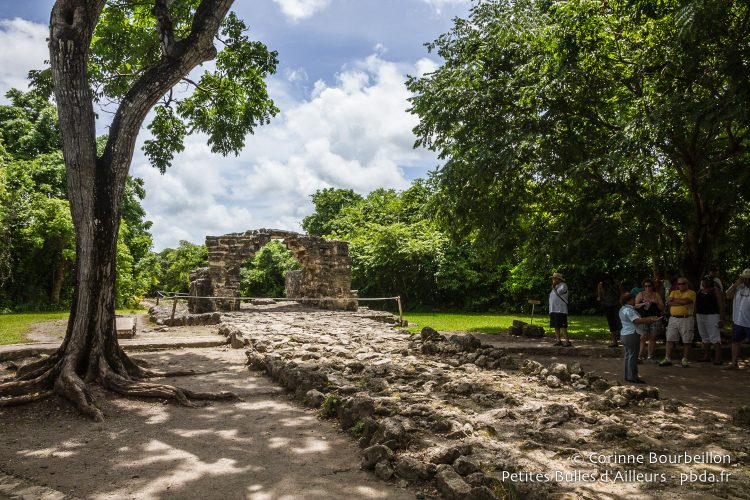 A guide tells a group of tourists the story of the ark and the old Mayan road of San Gervasio. Cozumel, Quintana Roo, Mexico, July 2014.