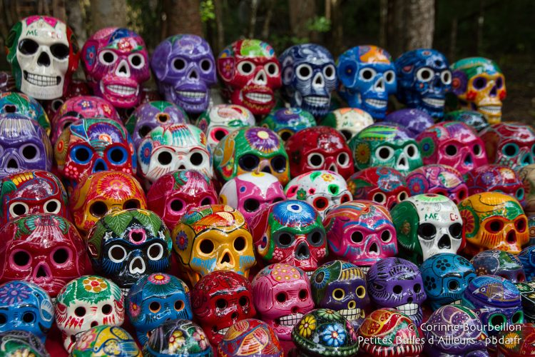Skulls sold to tourists. Yucatán, Mexico, July 2014.