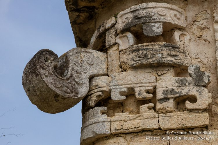 "One of the strange faces that adorn the building called ""La Iglesia"". Yucatán, Mexico, July 2014."