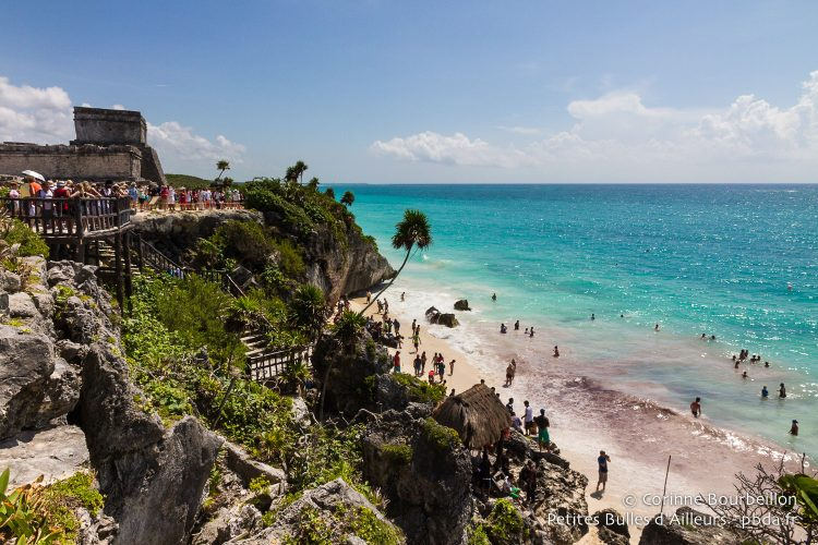 Tulum is one of the only archaeological sites that offers direct access to the beach. Quintana Roo, Mexico, July 2014.
