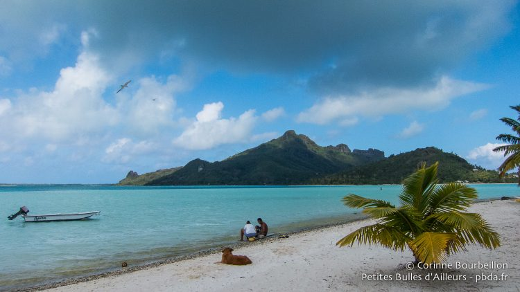 View of Maupiti, from the beach of Auira motu. Polynesia, October 2012.