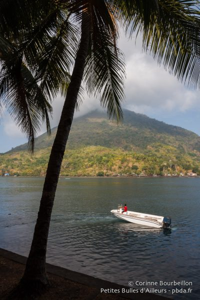 View of the volcano from the port of Banda Neira. Maluku, Indonesia, October 2015.