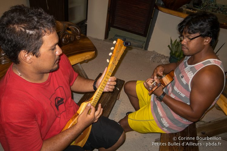Ukulele concert for my birthday at Pension Cécile de Rangiroa! Polynesia, October 2012.