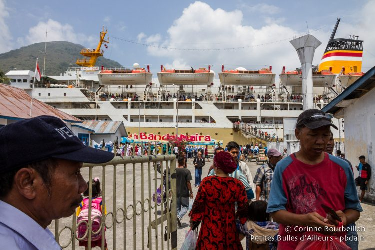 The arrival of the ferry is an event. Banda Neira, Maluku, Indonesia, October 2015.