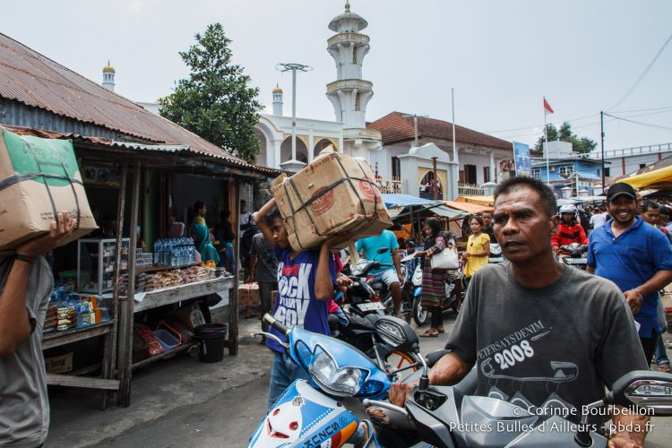It's the hustle and bustle in the streets of the harbor. Banda Neira, Maluku, Indonesia, October 2015.