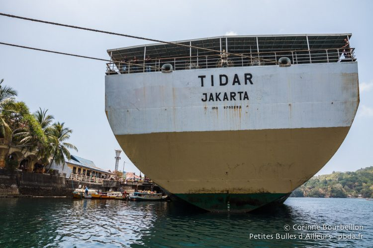 This huge rusty ferry will he hold the sea for a long time? Banda Neira, Maluku, Indonesia, October 2015.