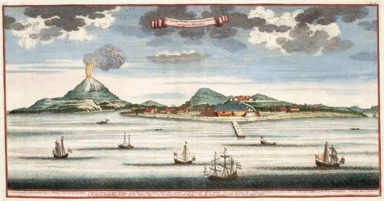 Une gravure de 1724, représentatn Banda Neira et le Gunung Api. (Illustration : Wikimédia)