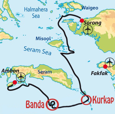 The Waow route for this cruise, from Ambon to Sorong.