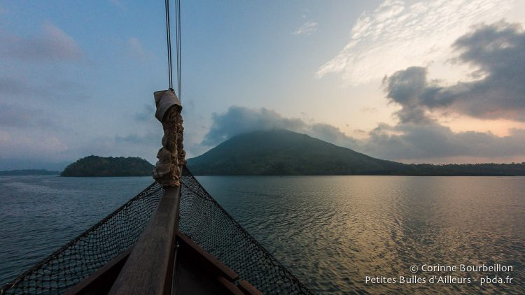 The archipelago of Banda is revealed in the early morning. Maluku, Indonesia, October 2015.