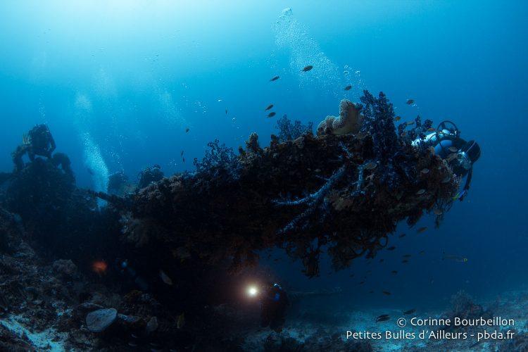 Sans flash pour l'illuminer, l'épave est une ombre posée au milieu du bleu. (Wai Plane Wreck, Raja Ampat, Papouasie occidentale, Indonésie, novembre 2015.)
