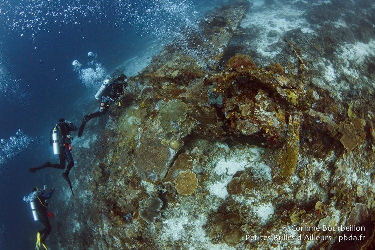 L'épave gît entre 26 et 33 mètres de fond. (Wai Plane Wreck, Raja Ampat, Papouasie occidentale, Indonésie, novembre 2015.)