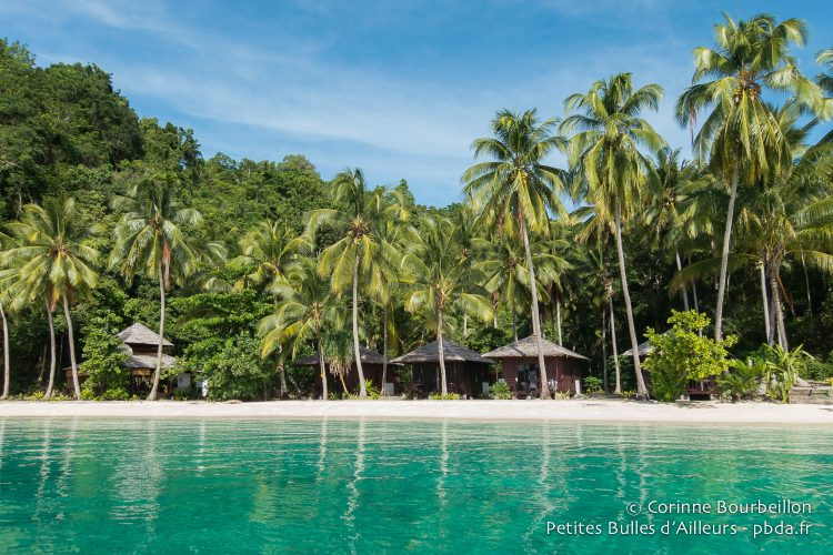 Triton Bay Divers resort beach on Aiduma Island. (Triton Bay, West Papua, Indonesia, March 2016.)