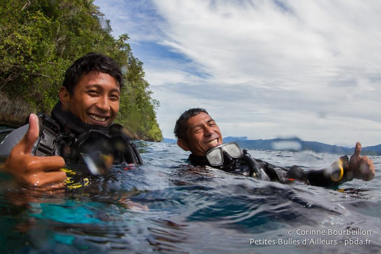 Andi and Edi, my two super dive guides. (Triton Bay, West Papua, Indonesia, March 2016.)