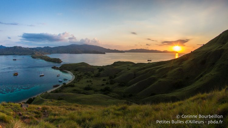 View of Gili Lawa Darat, a little higher ... The gold of the setting sun ignites the horizon. (Komodo, Indonesia, July 2016)