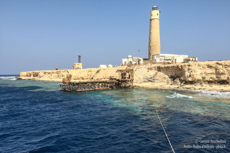 Big Brother, the largest of the two islands, is about 300 m long. Its lighthouse was built by the English in the late nineteenth century. (Red Sea, Egypt, October 2016)