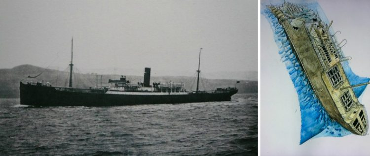 On the left, the only ship identical to Numidia, the Assyria, photographed here around 1905. (Photo: Scottish Maritime Museum) On the right, the wreck of Numidia, which sits almost upright on the sloping reef of Big Brother, at about 80m depth.