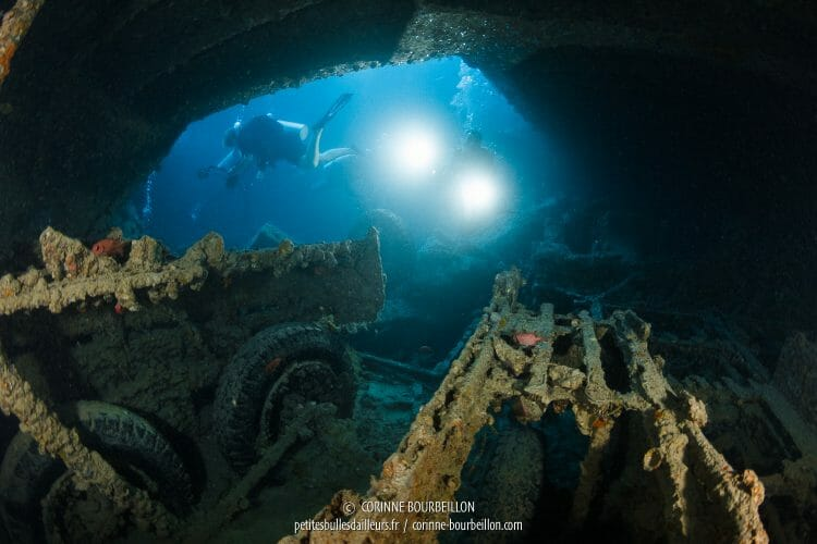 The wreck of the Thistlegorm is easily penetrable. (Shaab Ali, Red Sea, Egypt)