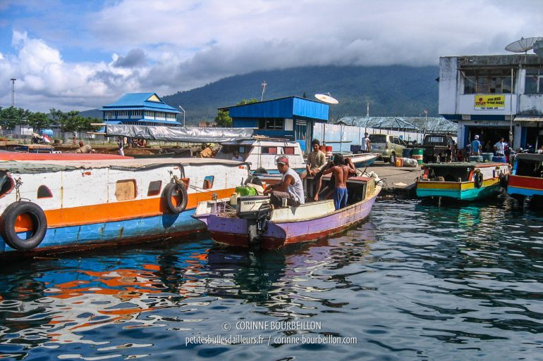 Small boats come and go in front of the docks of Bitung port. (Sulawesi, July 2007)