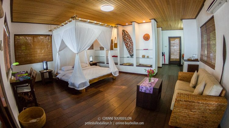 The interior of one of the spacious and luxurious bungalows of Sorido Bay Resort. (Raja Ampat, July 2016)