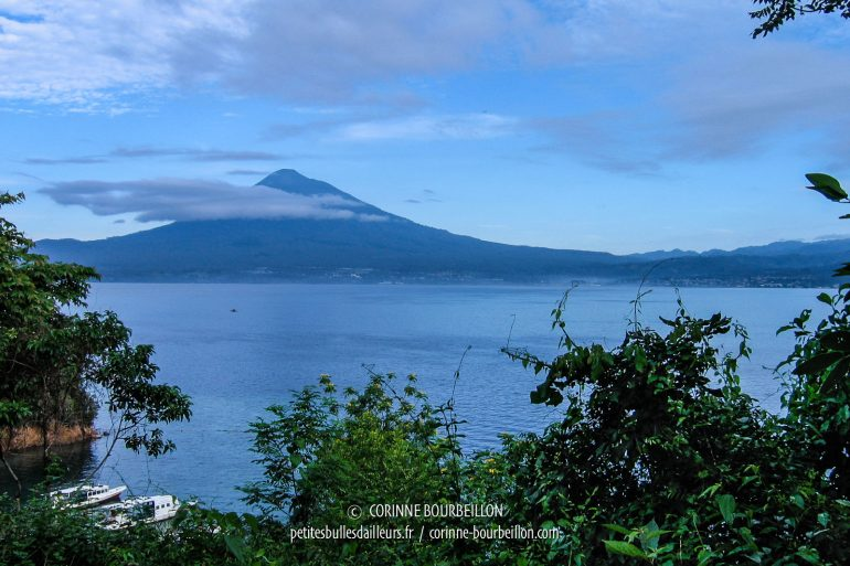 The spectacular silhouette of Klabat Volcano dominates the Lembeh Strait. (Sulawesi, Indonesia, July 2007)