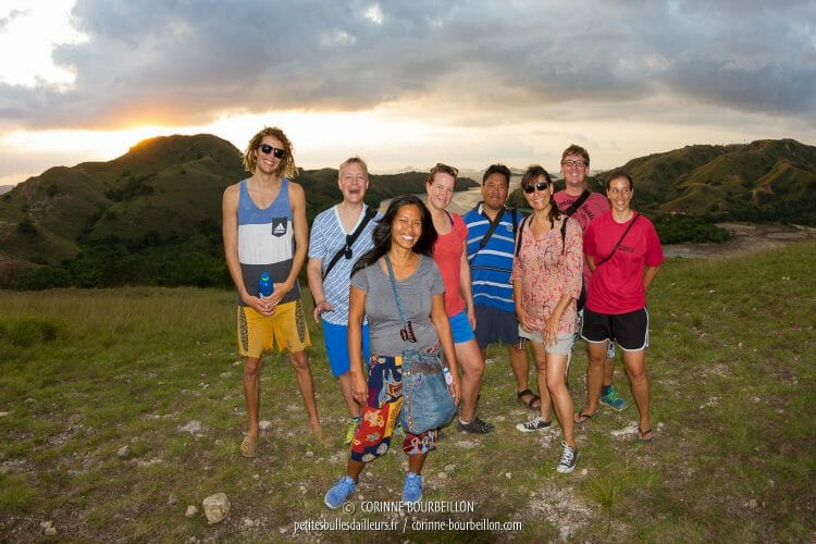 Our little group is happily posing for the souvenir photo on Rinca Island. (Komodo, Indonesia, July 2016)