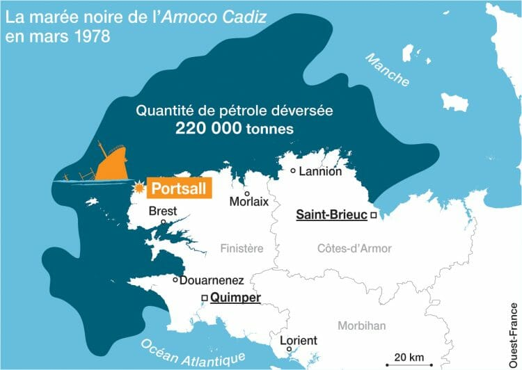 "On March 16, 1978, the sinking of the Liberian supertanker Amoco Cadiz caused in Brittany what was called the ""oil spill"" of the century. (Map: West-France)"
