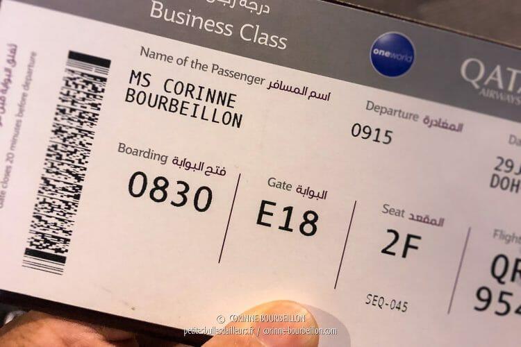 Mon boarding-pass pour la Business Class... (Doha, juillet 2018)