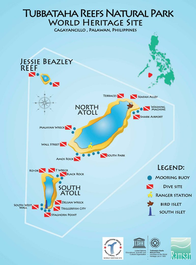 The dive sites of Tubbataha. (Source: TubbatahaReef.org)