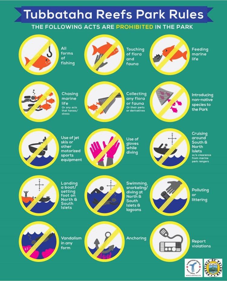 The 15 commandments of Tubbataha Park. (Source: TubbatahaReef.org)