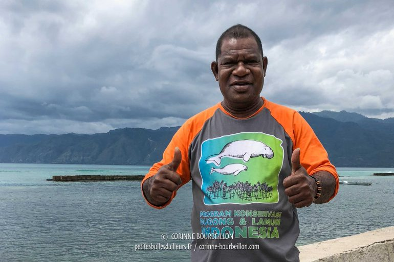 "Pak Oneh, the ""gentleman dugong"" who organizes the observation outings in the bay. (Alor, Indonesia, July 2018)"