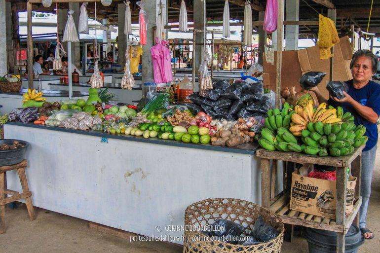 There are fruits and veggies in the market stalls of Maria. (Siquijor, Philippines, February 2008)