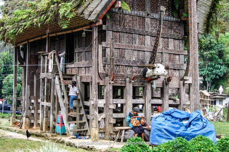 À l'entrée du village de Lemo, les habitants vaquent à leurs occupations. (Pays Toraja, Sulawesi. Juillet 2007)