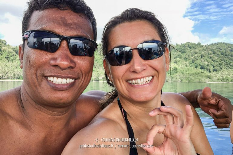 My super dive guide Jemy is posing with me. (Sali Kecil, Halmahera, Indonesia, July 2018)