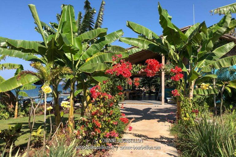 Un magnifique petit jardin mène à l'entrée du restaurant. (Kalimaya Dive Resort, Sumbawa, Indonésie, juillet 2018)