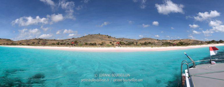 Dans le sud-ouest, à l'extrémité de la péninsule de Lambu, nous faisons notre intervalle de surface à la magnifique Pink Beach, au sable blanc-rose immaculé... (Sumbawa, Indonésie, juillet 2018)