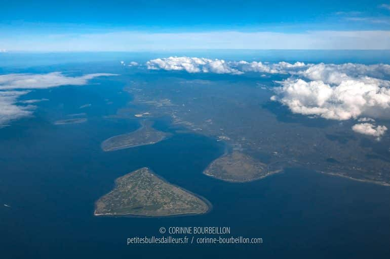 Cabilao seen from the sky. It is the triangular island in the foreground. (Philippines, February 2019)