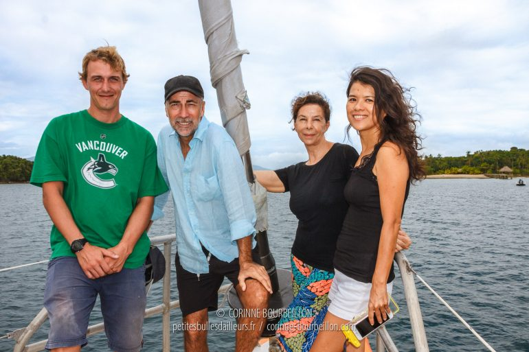 The Sulubaaï Foundation team. From left to right: marine biologist Thomas Pavy, founders Fred and Chris Tardieu, manager Michèle Wey. (Philippines, February 2018)