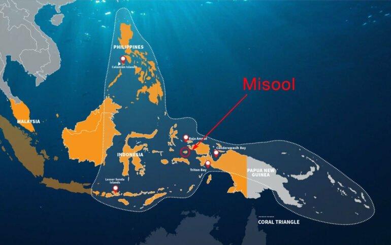 Misool, au cœur du Triangle de Corail, dans l'archipel de Raja Ampat (Carte: Adex.asia) -