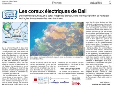Article on the Biorock electric coral project in Bali, by Corinne Bourbeillon, published in Ouest-France on February 15, 2009