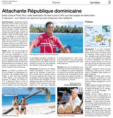 Tourism article on the Dominican Republic by Corinne Bourbeillon, published in Ouest-France on February 15, 2009.