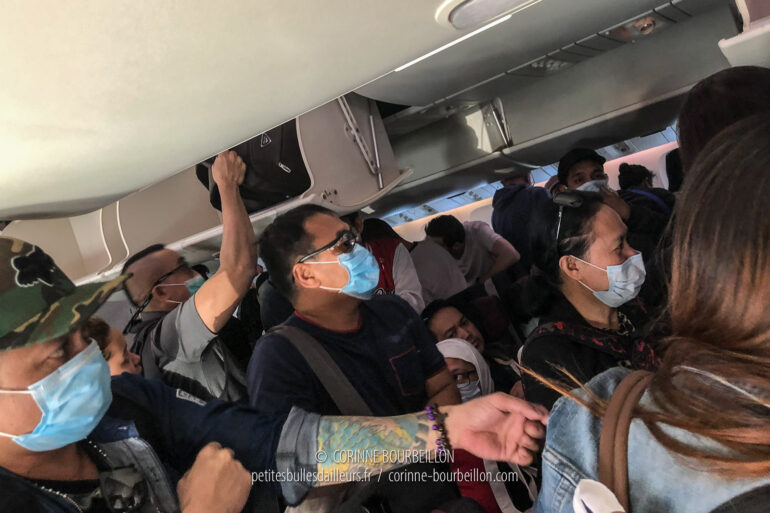 My plane just landed in Manila. Many of the passengers on that international flight wear masks. (Philippines, February 29, 2020)