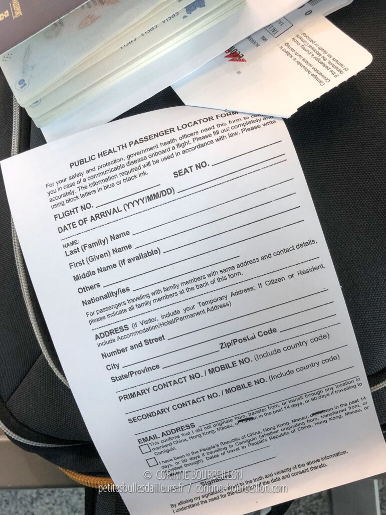 The health information sheet to be completed in order to board a domestic flight departing from Manila. (Philippines, February 2020)