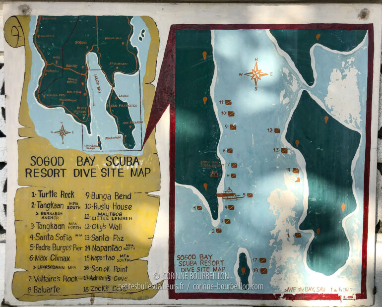 The map of the main dive sites in the bay of Sogod. (Leyte, February 2020)